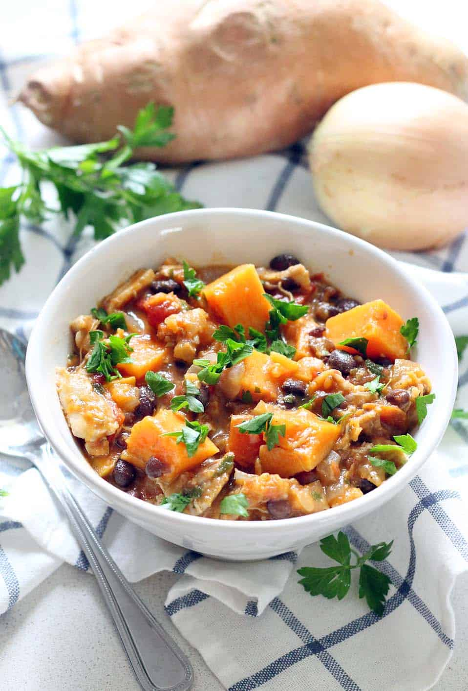 This Chicken Sweet Potato And Black Bean Stew Is Healthy Slightly Smoky