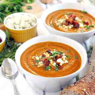 Smoky Sweet Potato Soup with Bacon and Bleu Cheese