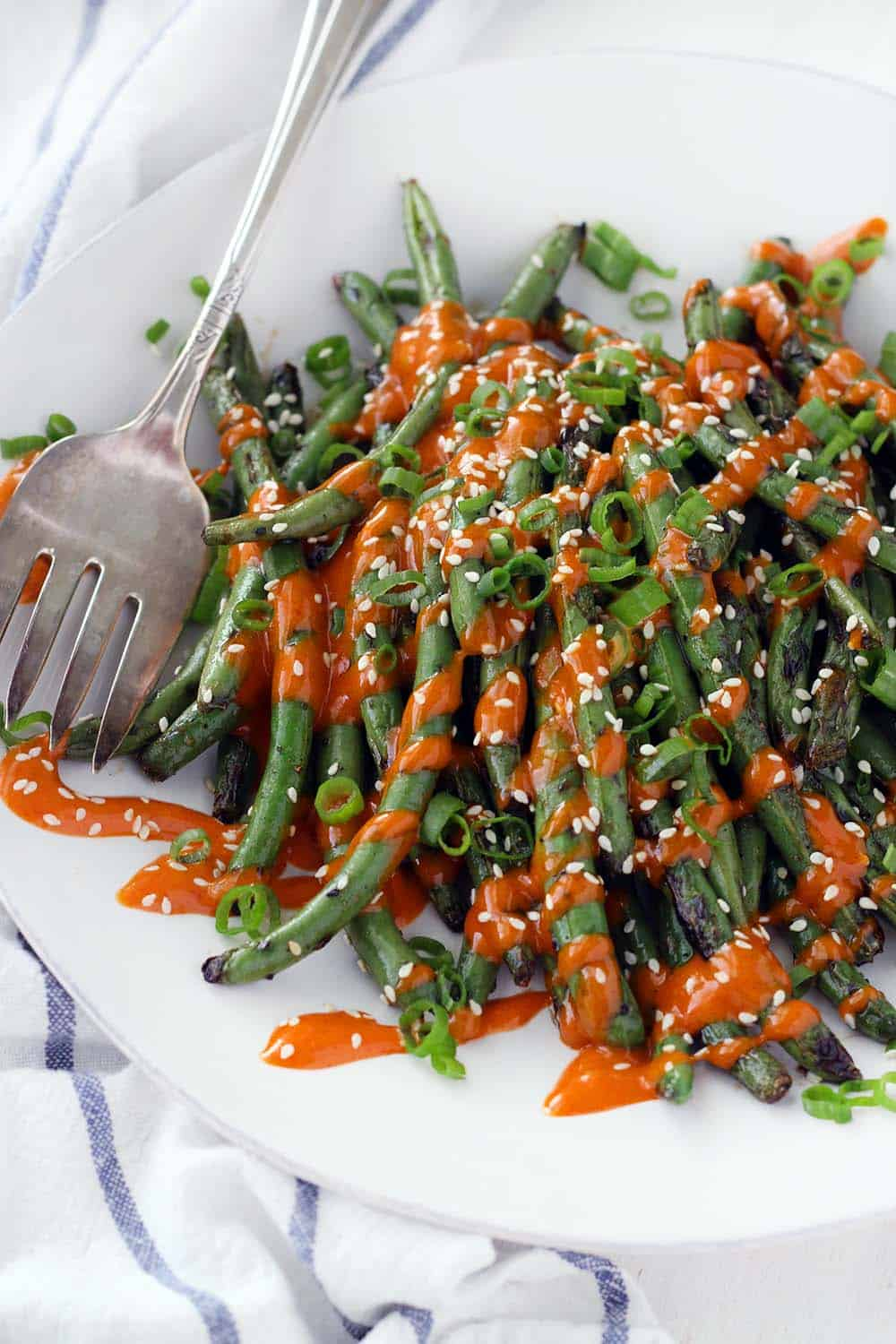 These grilled green beans are covered in spicy gochujang mayo with soy sauce and toasted sesame oil. This is the perfect low carb side dish, and they leftover mayo is amazing on sandwiches or on eggs! No grill? The beans can be sautéed or roasted as an alternative, and sriracha can be used as a substitute for gochujang.