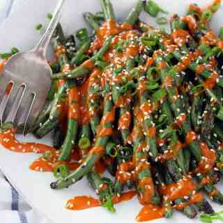 Grilled Green Beans with Gochujang Mayo