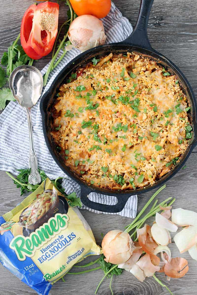 This easy Tex Mex Tuna Noodle Casserole is made in a skillet and packed with flavor and veggies! It's hearty and comforting, and the fresh frozen egg noodles take it over the top.