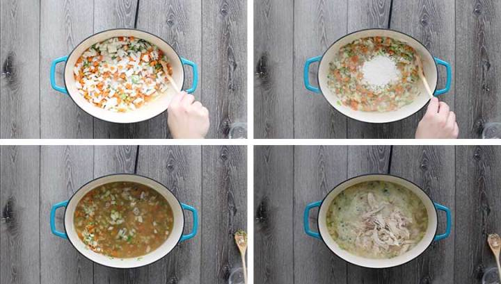 A process collage of how to make chicken soup