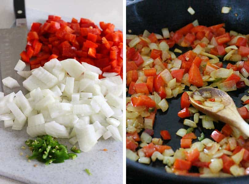 Diced red bell peppers, onions, and jalapeño peppers sautéing in a skillet