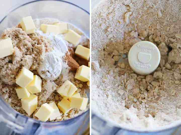A food processor with oats, flour, cinnamon, butter, and sugar to make the topping for apple crisp