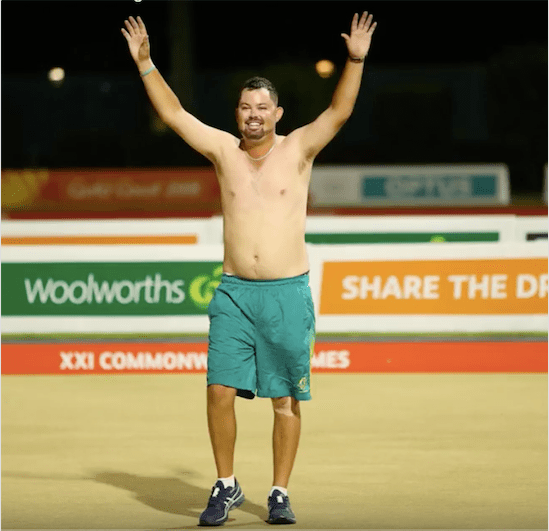 Aaron Wilson celebrates at the 2018 Commonwealth Games