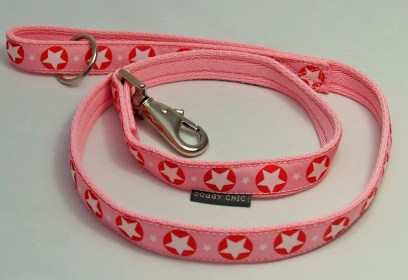 Pink star lead for your dog