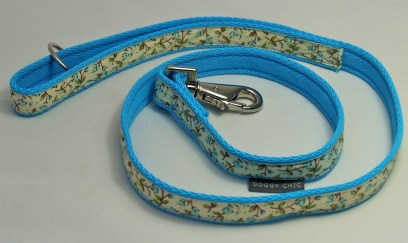 Doggy Chic Cotton Cream Floral Lead on Webbing with Metal Hardware Blue