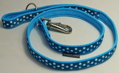 Doggy Chic Teal Polka Dot Lead on Baby Blue Webbing with Metal Hardware
