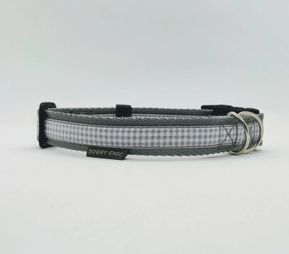 grey handmade dog collar