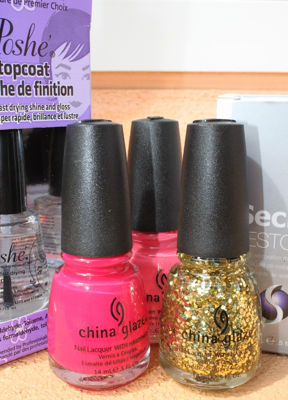 china glaze sugar high heli yum poshe seche vite solar flare sparkles gold