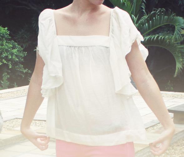 blouse volants creme mango
