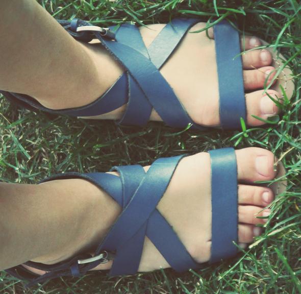 sandales cuir zara bleu