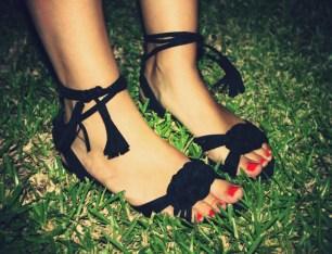 h&m sandales noires cuir