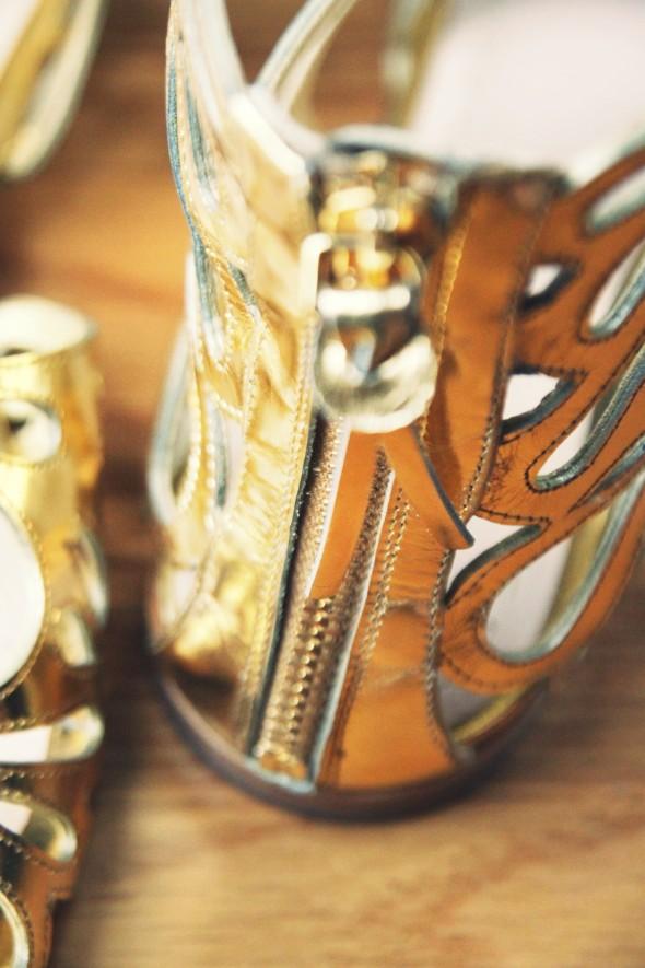 gold designer shoes