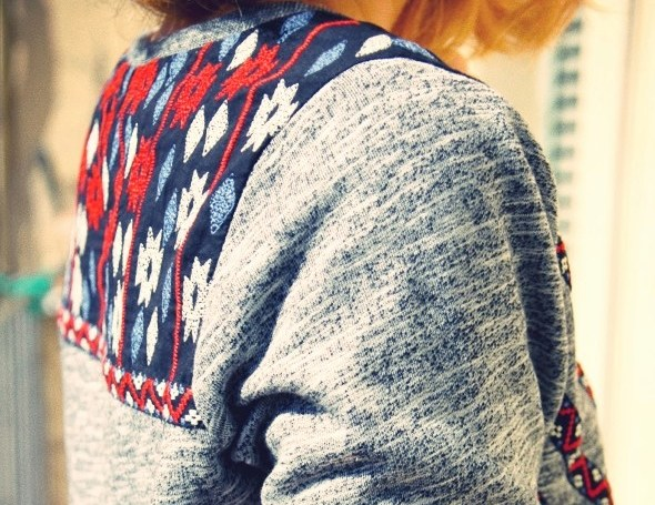 pull sweat shirt sweater h&m divided aztec 2013_effected copie
