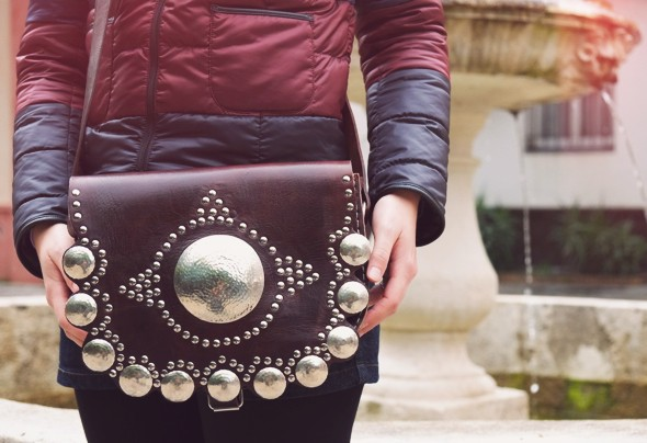 sac clouté bag cuir leather piel bolsa sevilla seville handmade ethnic aztec_effected