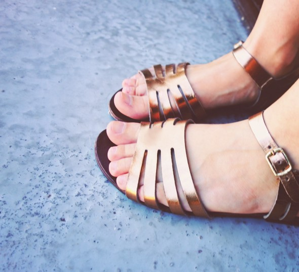 asos sandales bronze cuivre cuir leather sandals_effected