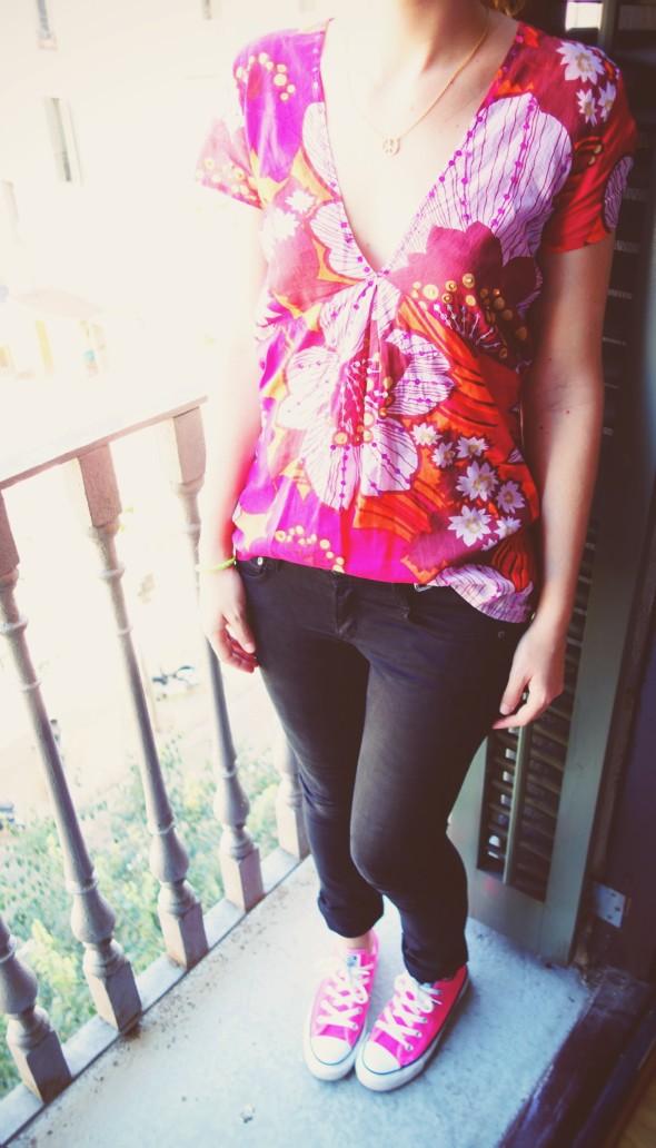 jean mango blouse rose imprime sequins