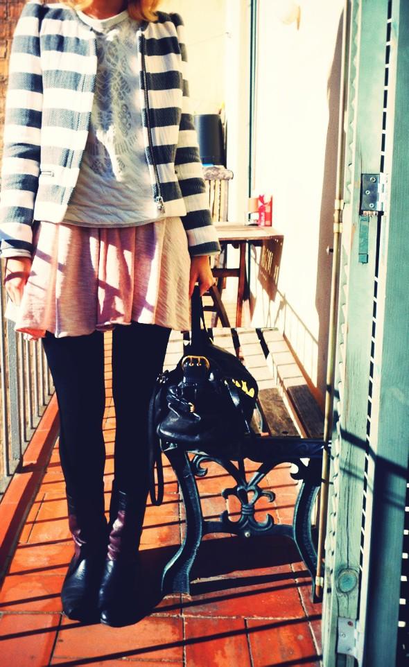 veste jacket zara stripes grey black free people pink rose dress robe vintage boots bottines jumper sweater 2013_effected