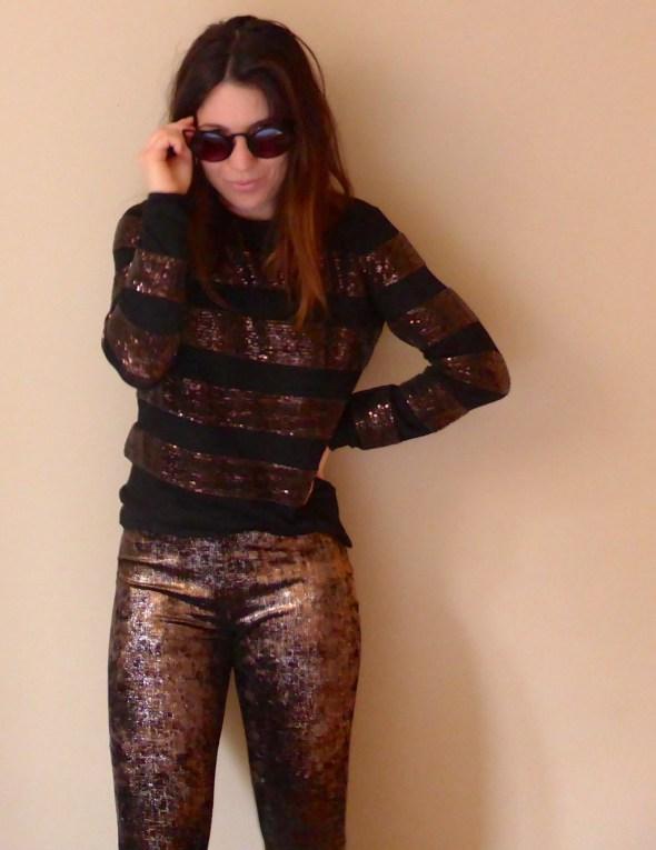 Pantalon flare pull sequins