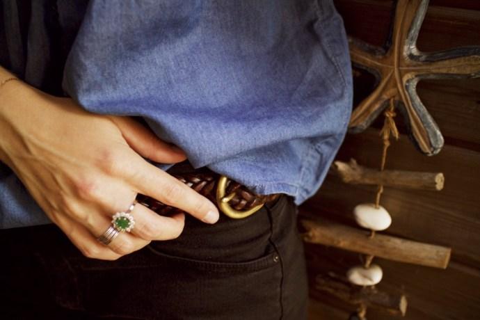 ceinture en cuir tresse