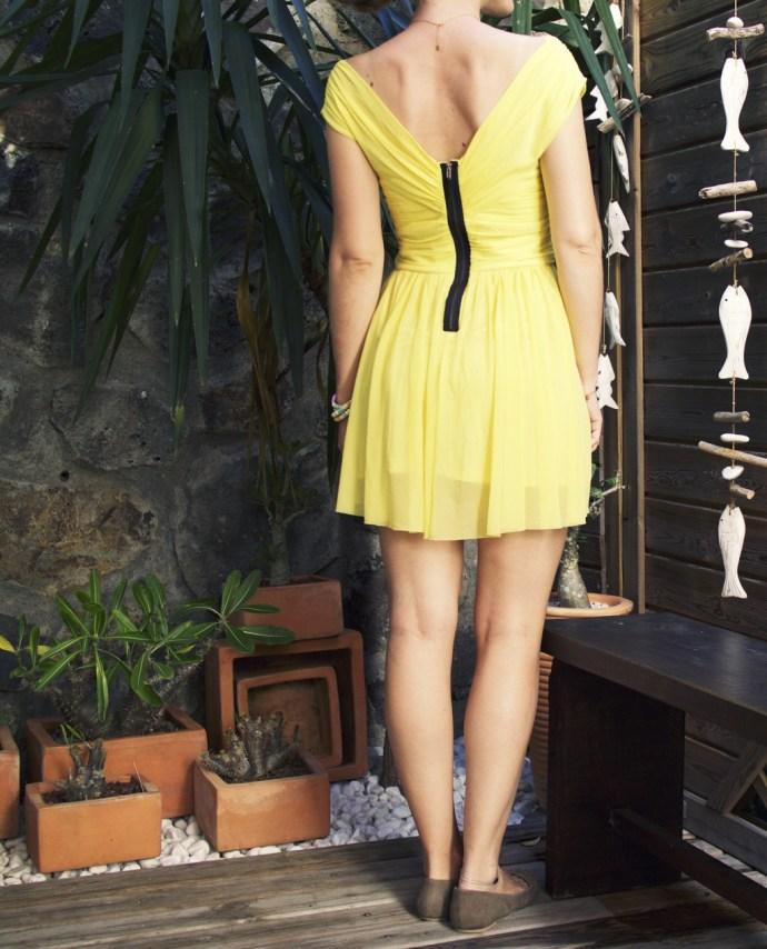 _topshop_yellow_neon_wrap_dress_robe_jaune_vif_ballerines_zara_studs_ballerinas_flats_effected