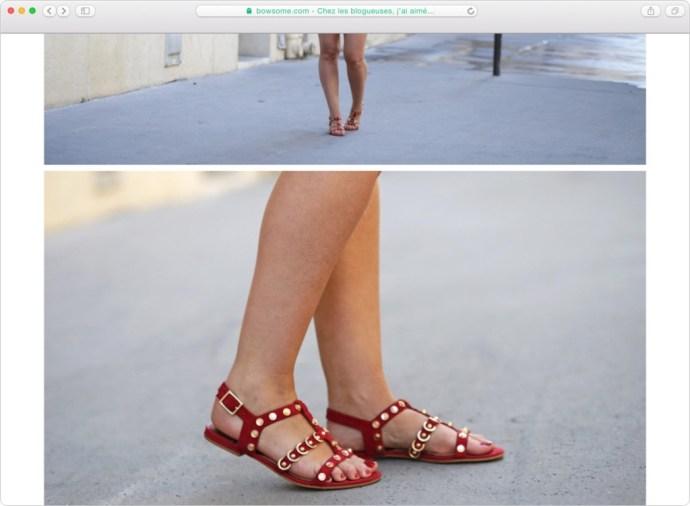 sandales rouges dorees mango