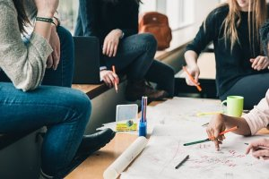 girl students doing homework