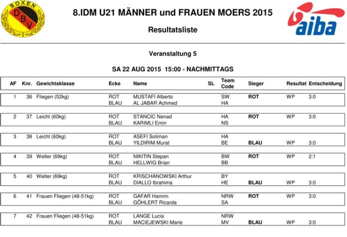 Ergebnisse des 1. Halbfinales von der U21-DM aus Moers