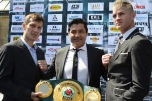 Igor Mikhalkin, Erol Ceylan und Thomas Oosthuizen / Foto: EC Boxing