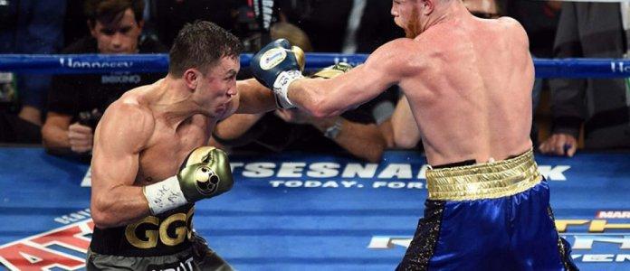 Eine Szene aus dem ersten Kampf der Beiden, der mit einem umstrittenen Unenetschieden endete. Die meisten Experten saghen Golovkin in diesem Kampf als den wahren Sieger.