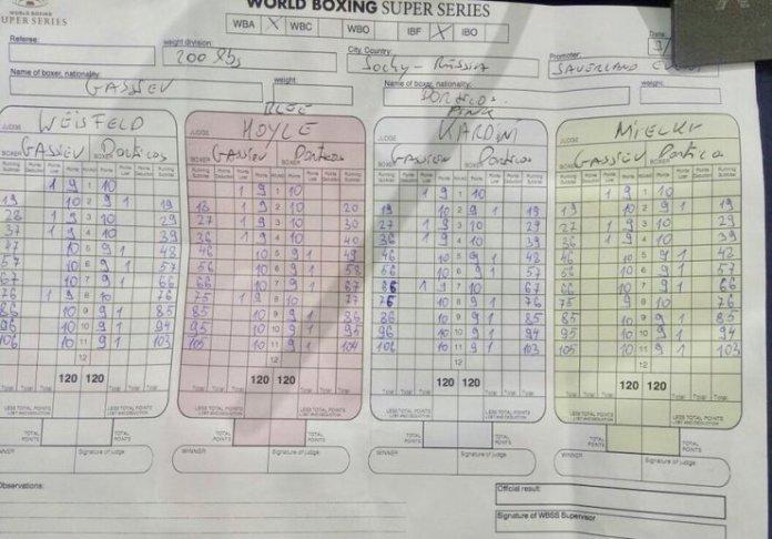 Auf den Scorecards der vier Punktrichter (e normale Punktrichte plus eon Oberpunktrichter) lag Gassiev auf allen Punktzetteln klar und uneilholbar in Front.