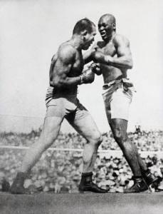 Jack Johnson im Kampf gegen James J. Jeffries, 1910