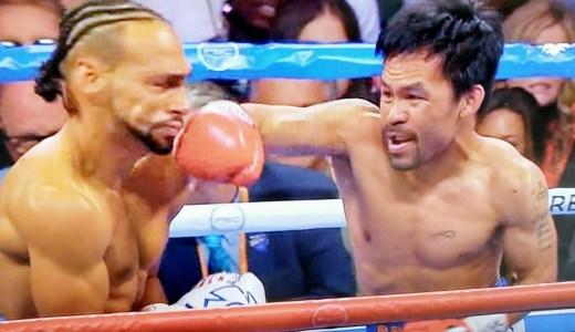パッキャオが2年ぶりにリングに登場!お互い手数の少ない、退屈な試合でパッキャオが判定負け。アンダーカードでマーク・マグサヨが逆転KO勝ちVSフリオ・セハ