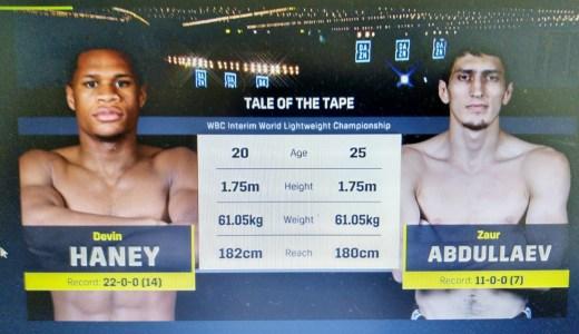 速報)20歳のデビン・ヘイニーがロシアの刺客を圧倒VSザウル・アブドゥラエフ(WBC世界ライト級暫定王座決定戦/DAZNで生配信)