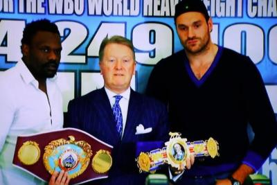 Fury vs Chisora II - Tyson Fury and Dereck Chisora Pose at Press Conference
