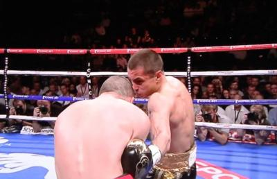 Quigg vs Jamoye - Scott Quigg hammers home a left to the body of Stephane Jamoye