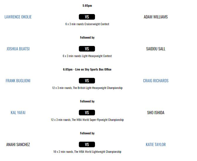 Anthony Joshua undercard schedule