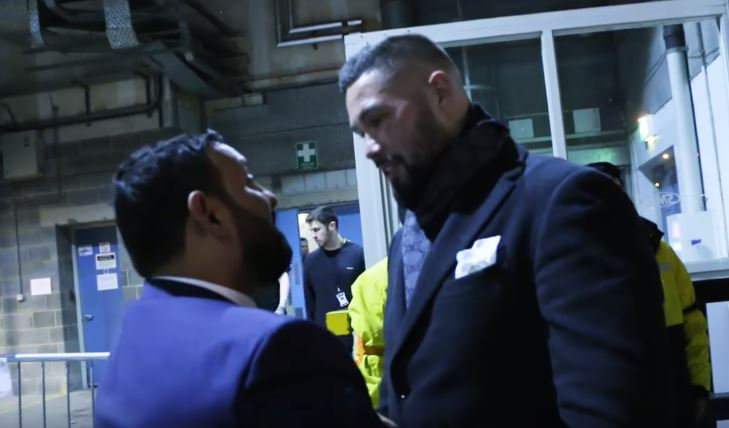 Naseem Hamed and Tony Bellew Run In To Each Other Backstage At Groves v Eubank