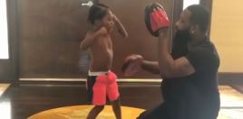 Broner Takes His Young Son On The Pads Ahead Of Pacquiao Fight