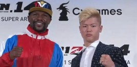 Floyd Mayweather Sizes Up His Much Smaller Japanese Opponent