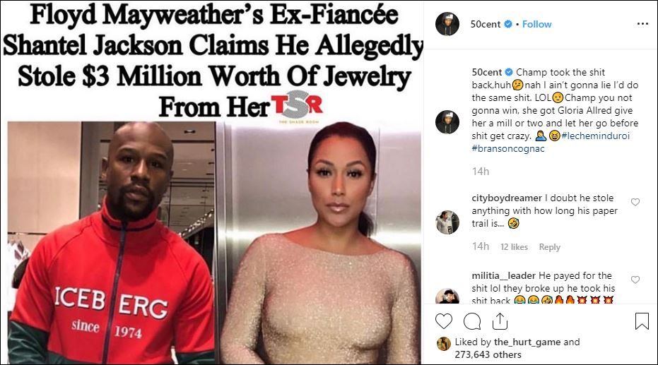 50 Cent Trolls Mayweather For Alleged Jewellery Theft Story