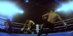 Bizarre Rare Double Knockdown On Takam vs Forrest Card