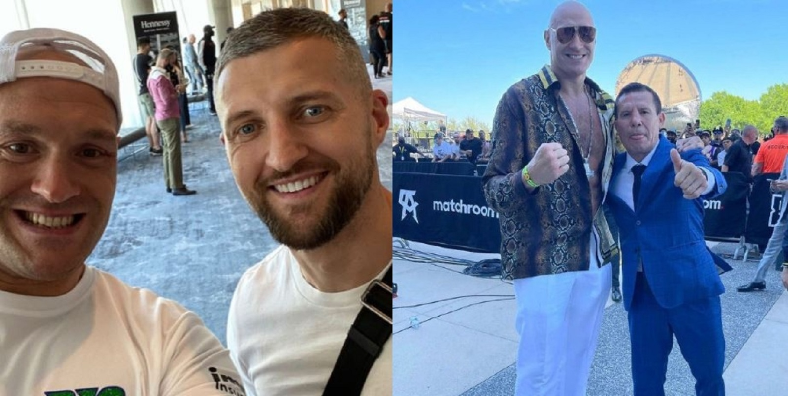Heavyweight Champion Bumps Into Two Boxing Legends