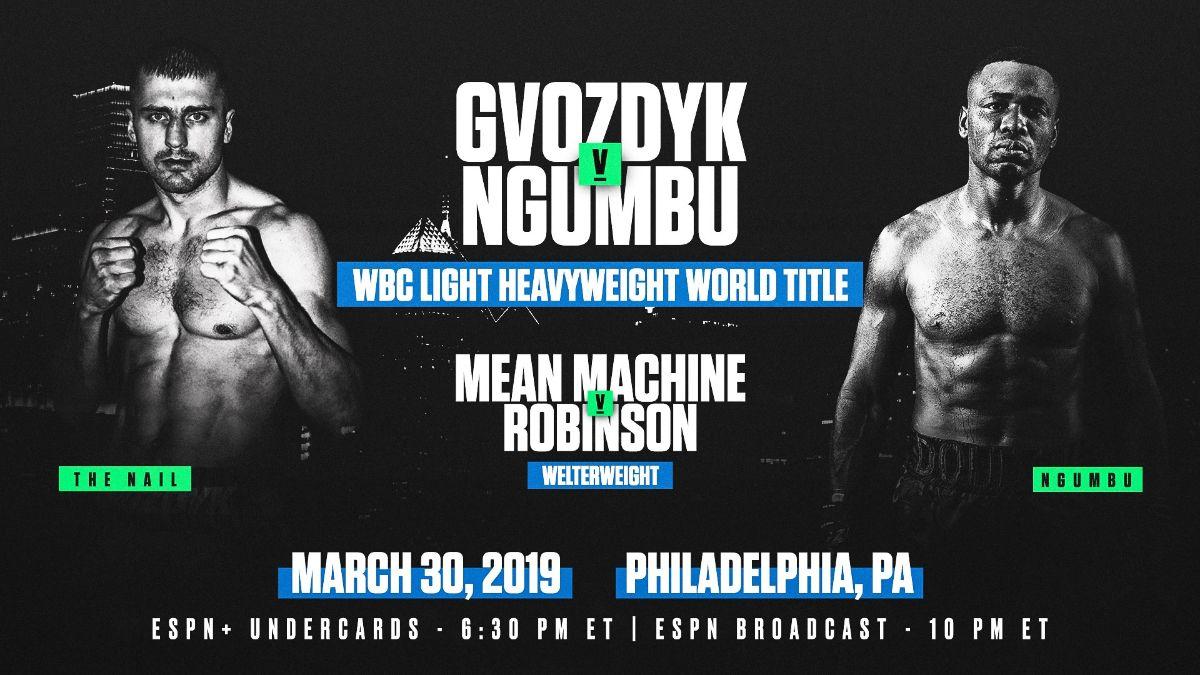 Gvozdyk vs  Ngumbu – March 30 – ESPN @ 2300 Arena in Philadelphia | Philadelphia | Pennsylvania | United States