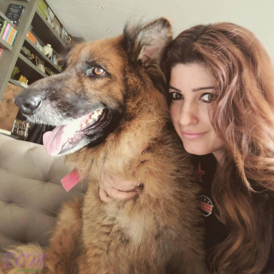 Twinkle Khanna selfie with dog Cleo