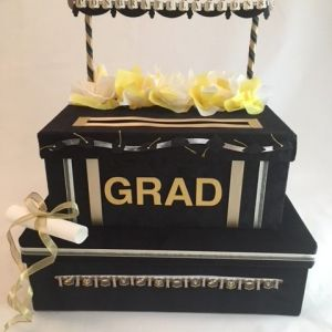 Black Velvet and gold graduation card box, year can be easily added, diploma
