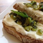 Broad bean, mint and ricotta bruschette