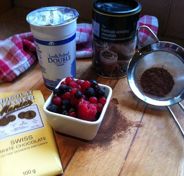 Frozen summer berries with hot white chocolate sauce recipe