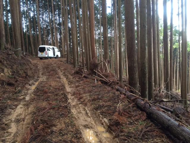 サンバーバンと林道
